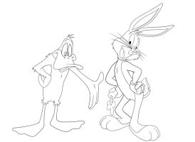 Bugs Bunny and Daffy Duck by frostdusk