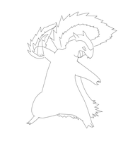 Typhlosion used Fire Punch - Lineart by richard-vdijk