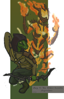 TES [Day 7]: Argonian and Flame Atronach by ZioCorvid