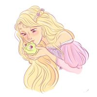 Rapunzel and Pascal by hansideburns