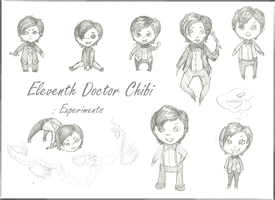Eleventh Doctor Chibi Experiments pencils by aquabluejay
