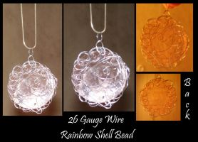Wire wrapped Shell Bead by jessijoke