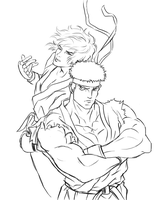 Ryu and Ken by EUDETENIS