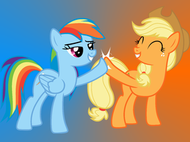Applejack and Rainbow Dash wallpaper by lionovsky