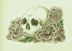 Skull and Peony by CoolleKotten
