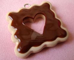 Chocolate Heart Cookie Pendant by strawberrywafers