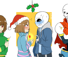 [ Art Trade ] Frisk and Sans fluff + Comic by Soph-arts
