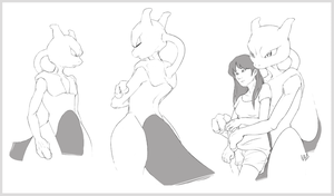 Mewtwo (speed sketches) by Metros2soul