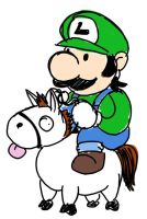 Luigi on a Tiny Pony by Chorocojo
