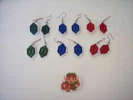 Legend of Zelda Earrings and pins by HopperARTZ
