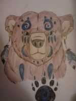 Spiritual Grizzly Bear and Paw Print by Darkbullfrog