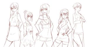 Group poses wip by rika-dono