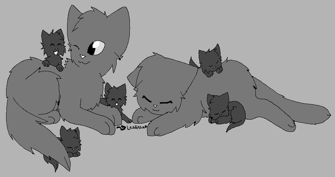 cat family lineart READ DESCRIPTION! by leafstep