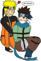 Naruto tied Konohomaru up by ErnetGID