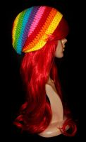 Radical Rainbow Slouchy Beanie by rainbowdreamfactory