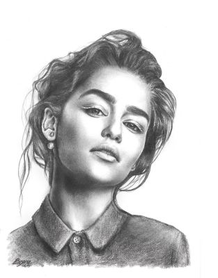 Emelia Clarke Pencil Portrait by xbooshbabyx