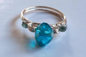 Silver Plated Wire Crystal Solitaire Ring by AshleyandXixuan