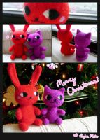 Needle Felted Bunny and Kitty by nekofoot