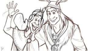Olaf and Sven ( human version) by OnceInAwhile89
