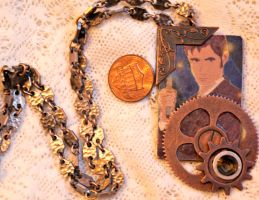 Doctor Who 10th Steampunk Brass Necklace Pendant by elllenjean