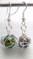 Swirling Orb- Wire Wrapped Bead Earrings by cunningcatcrafts
