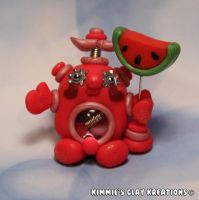 Polymer Clay Robot - I Love Watermelon Robot by KIMMIESCLAYKREATIONS