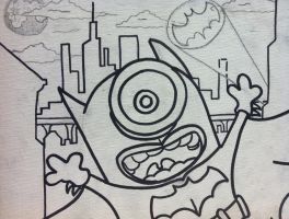 Despicable me minion batman painting outline by sampson1721