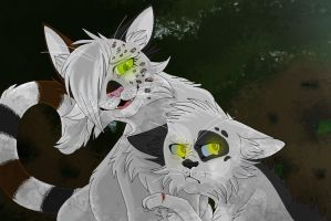 Booboo .Coalpatch and Speckledfeather. by CHAR-C0AL