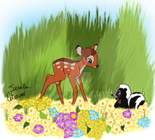 Bambi and Flower by LadyBelva