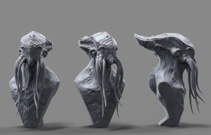 Cthulhu Clay Render by Leifart