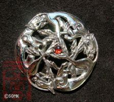 Kells - 3 Hounds Brooch by somk