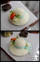 Mini straw hat Green Ribbon by ClockworkHeartComple