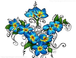 Blue Fire Plumeria Tattoo by styx-leagon