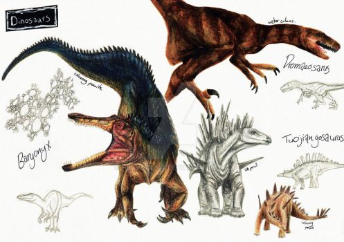 NHM Sketches: Dinosaurs 1 by HeavyClaw