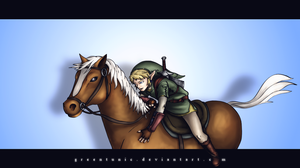 Link and Epona colored by greentunic