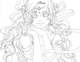 flower girl lineart by Saota
