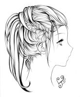 Hair lineart by As-If-I-Draw