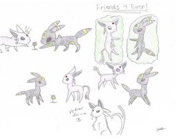 Umbreon and Espeon Friends forever by chillytuna929