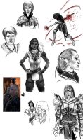 Dragon Age 2 - Sketchdump by marittana