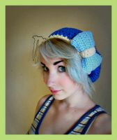 Dark Blue Crochet Beret Hat With Light Blue Bow by Ashler-Sauce