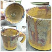 Yellow and Purple coffee mug by Ryvienna