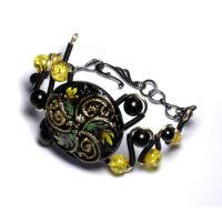 Steampunk Bracelet Onyx Amber by CatherinetteRings