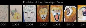 Evolution of Lion Drawings by TempusNox