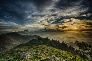 Haze and clouds at sunset by bullone65