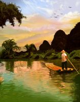 Guilin, China Painting by Ficklestix