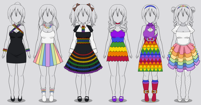 Six Rainbow Dresses in Kisekae 2 (codes included) by RainbowFan256