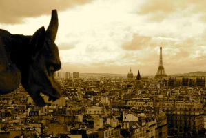 Gargoyle over Paris by kristymariethomas