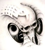 bio mech goofy design skull by Articidal