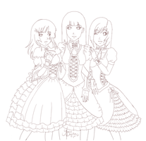 Gothic lolita girls lineart by yoco-chan