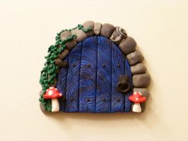 Peaked Blue FairyDoor with Ivy by FlyingFrogCreations